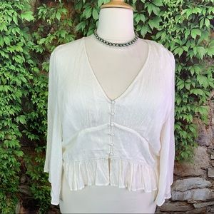 AMERICAN EAGLE Creme Dotted Swiss Blouse, XXL